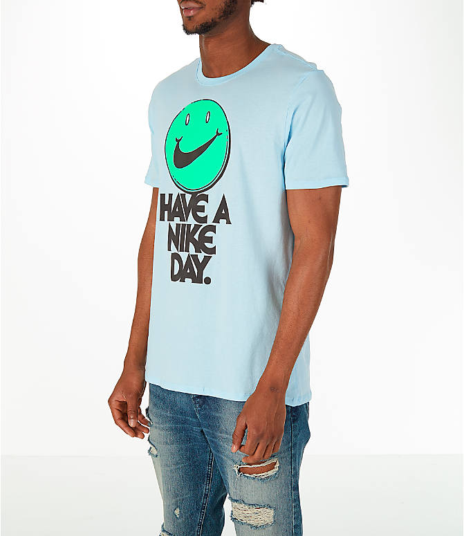 Front Three Quarter view of Men's Nike Have a Nike Day T-Shirt in Blue