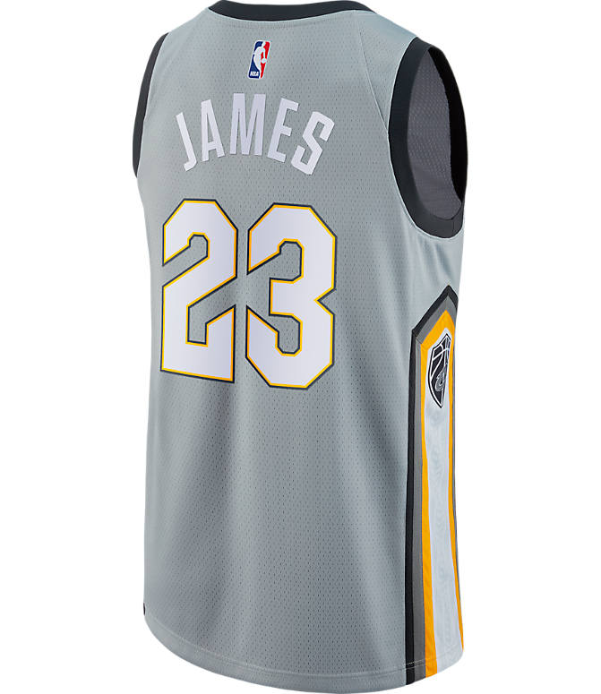 Front view of Men's Nike Cleveland Cavaliers NBA LeBron James City Edition Connected Jersey in Silver