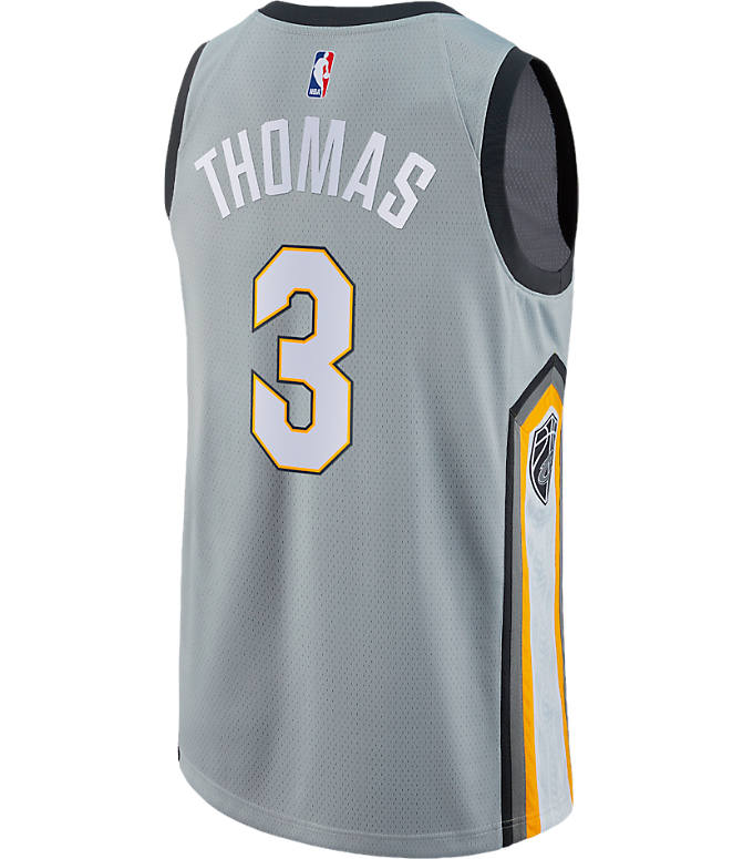 Front view of Men's Nike Cleveland Cavaliers NBA Isaiah Thomas City Edition Connected Jersey in Silver