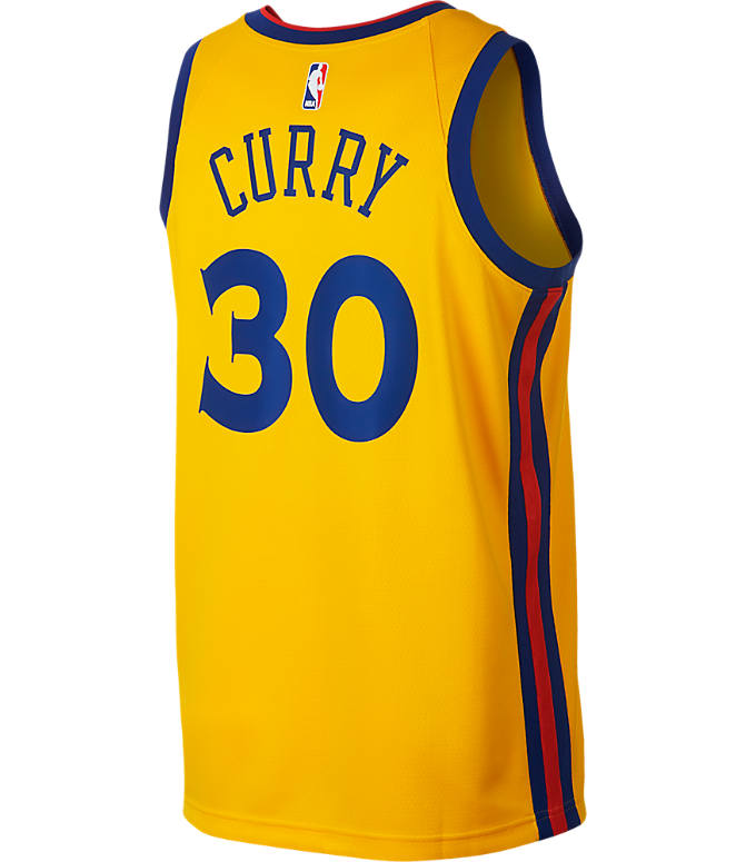Front view of Men's Nike Golden State Warriors NBA Stephen Curry City Edition Connected Jersey in Amarillo Gold