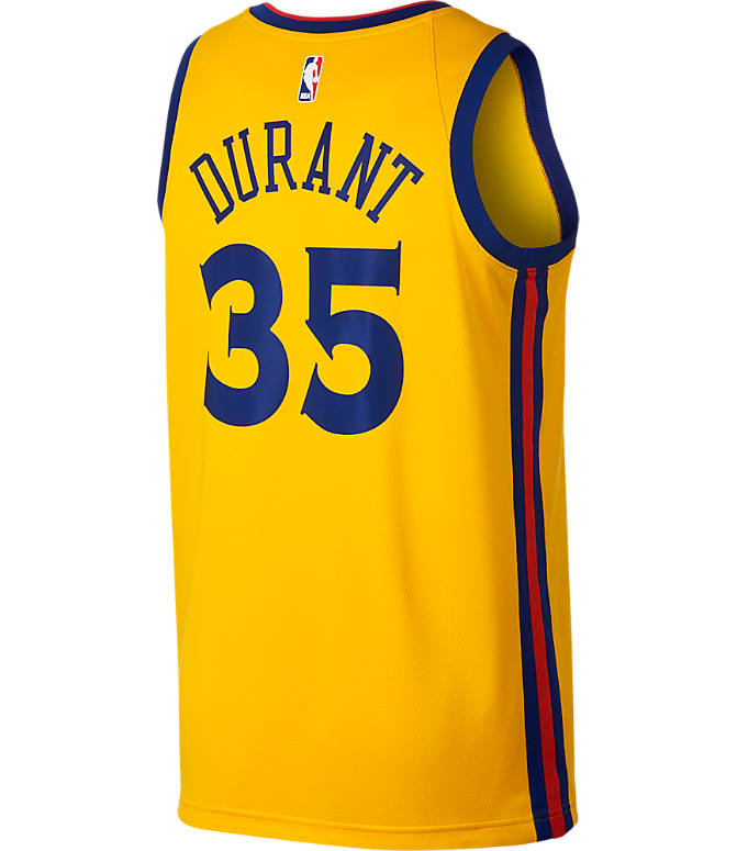 Front view of Men's Nike Golden State Warriors NBA Kevin Durant City Edition Connected Jersey in Amarillo Gold