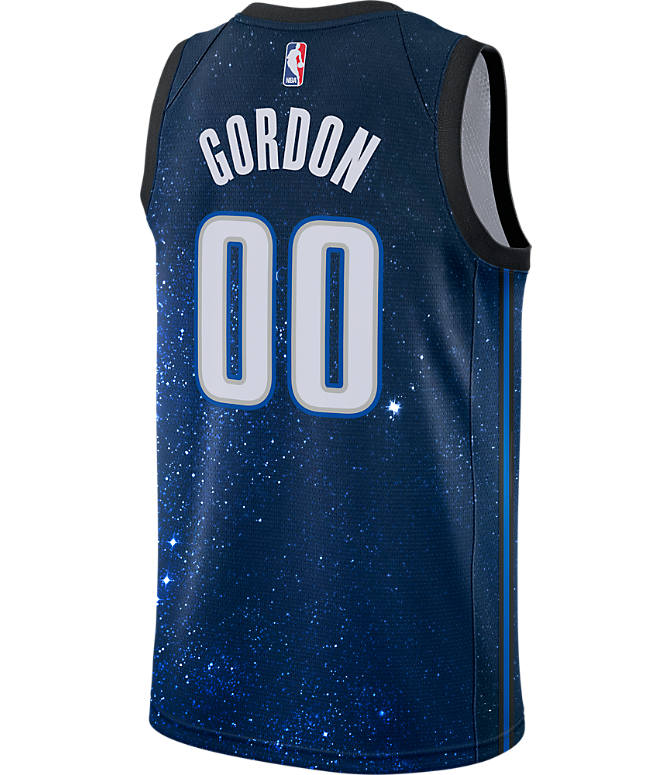 Front view of Men's Nike Orlando Magic NBA Aaron Gordon City Edition Connected Jersey in Black