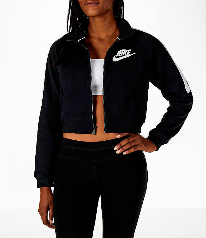 Front view of Women's Nike Sportswear Crop Track Jacket in Black/White
