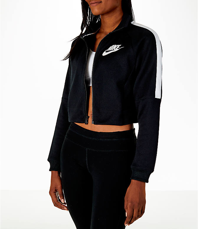 Front Three Quarter view of Women's Nike Sportswear Crop Track Jacket in Black/White
