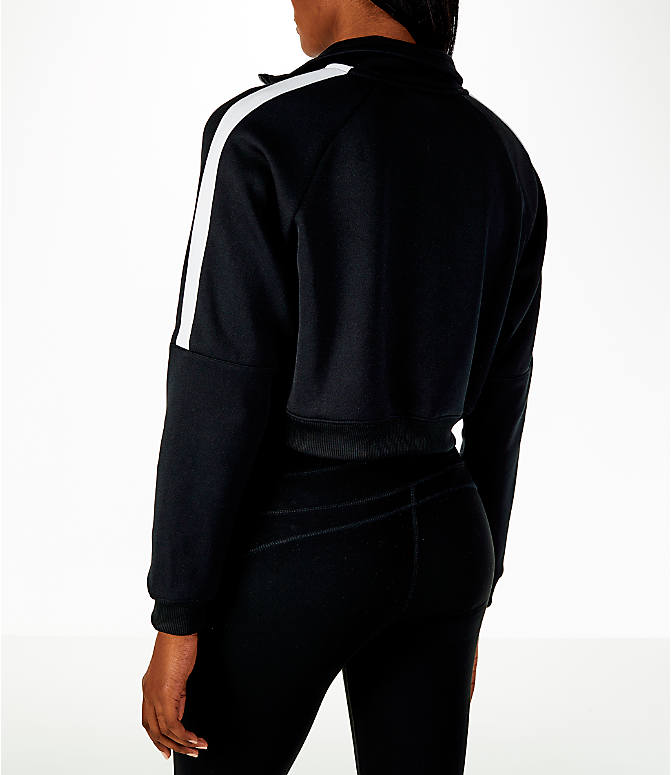 Back Left view of Women's Nike Sportswear Crop Track Jacket in Black/White
