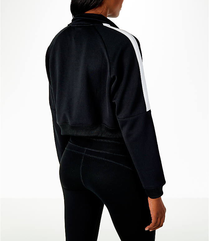 Back Right view of Women's Nike Sportswear Crop Track Jacket in Black/White