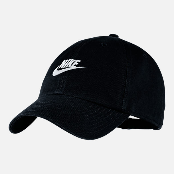 Front view of Nike Sportswear H86 Washed Futura Adjustable Back Hat in  Black White 87d835f99e0