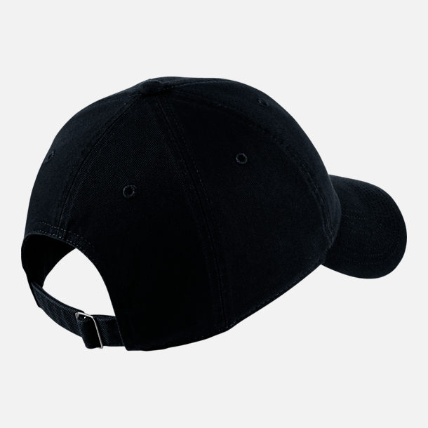 Back view of Nike Sportswear H86 Washed Futura Adjustable Back Hat in  Black White 5a915a5e7aad
