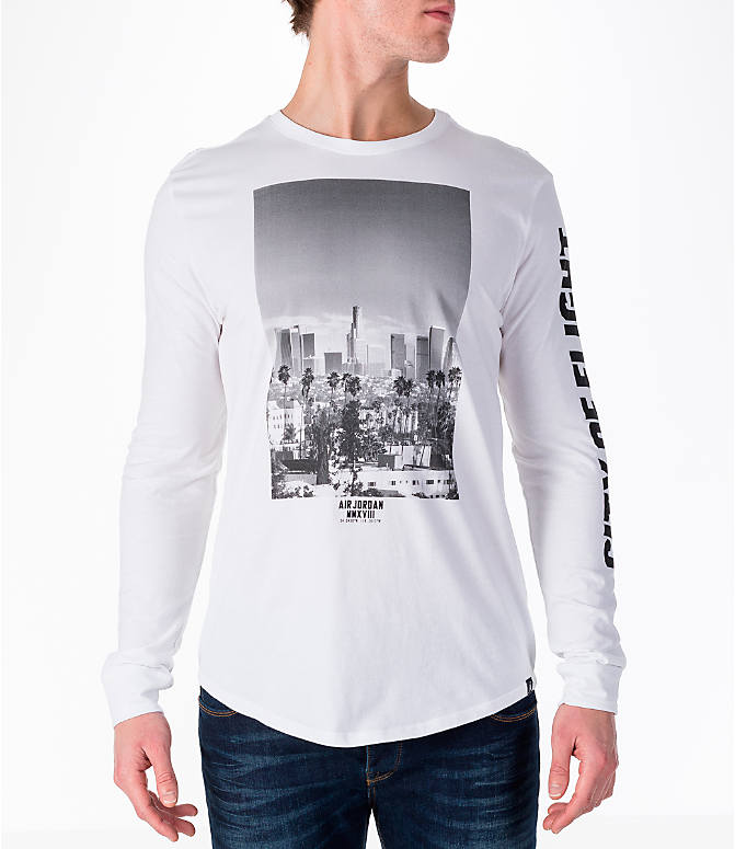 "Front view of Men's Air Jordan ""City of Flight"" Long-Sleeve T-Shirt in White"