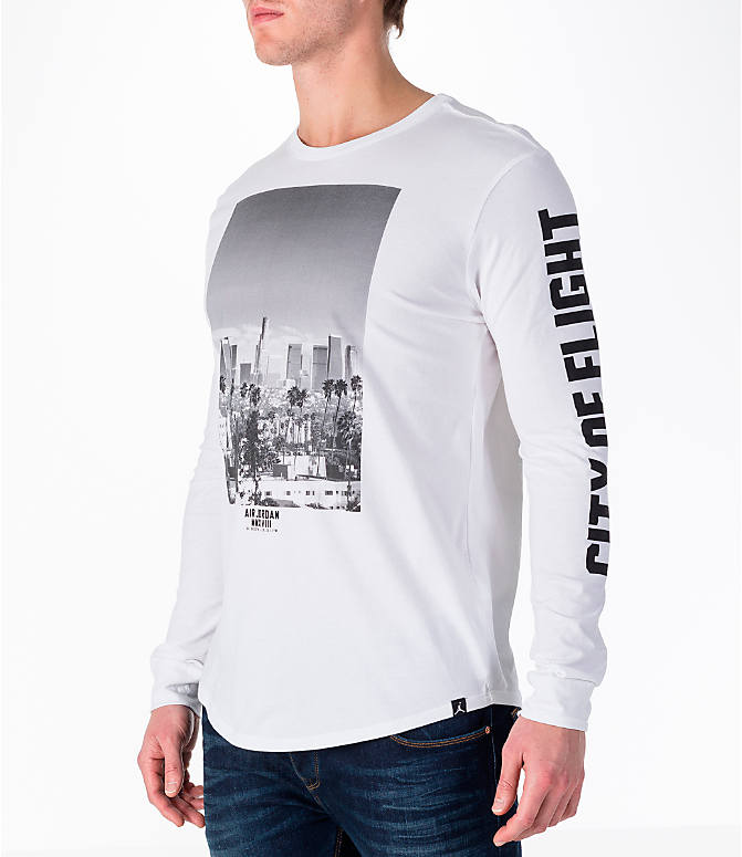 "Front Three Quarter view of Men's Air Jordan ""City of Flight"" Long-Sleeve T-Shirt in White"