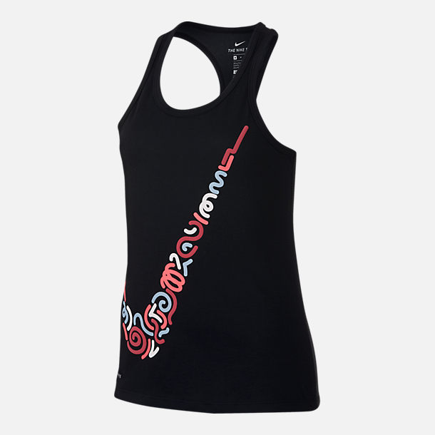 Front view of Girls' Nike Dry Swoosh Tank in Black/Racer Pink