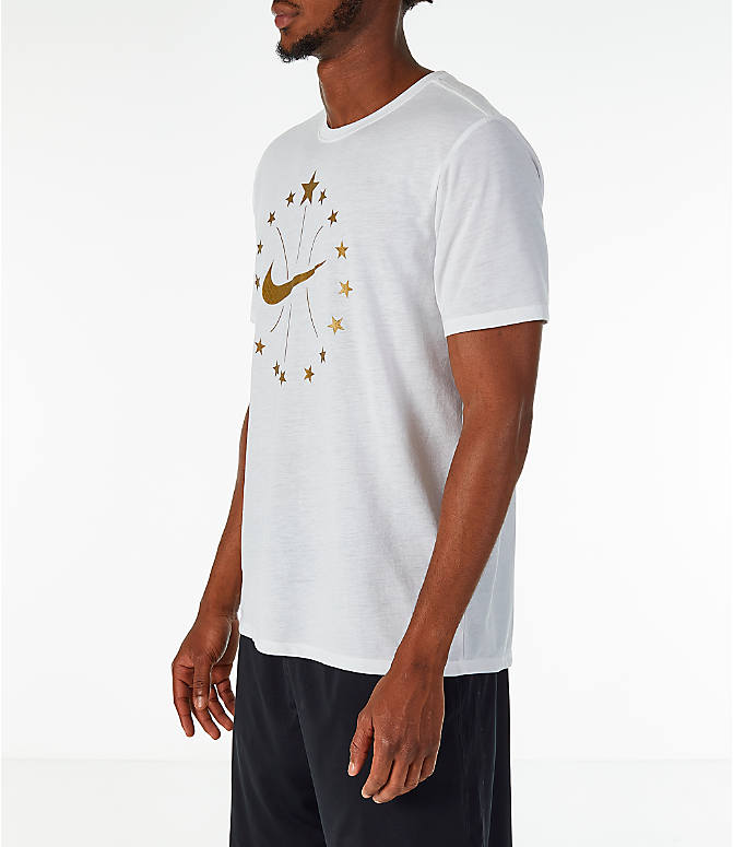 "Front Three Quarter view of Men's Nike ""16 Stars"" Dry Basketball T-Shirt in White"