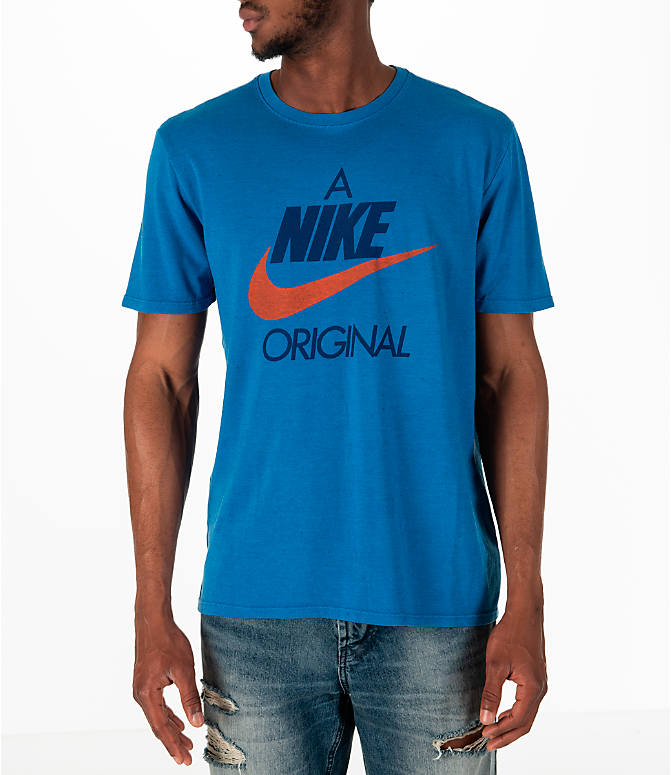 Front view of Men's Nike Sportswear Nike Original T-Shirt in Blue