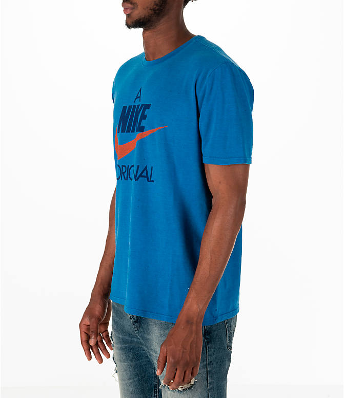 Front Three Quarter view of Men's Nike Sportswear Nike Original T-Shirt in Blue