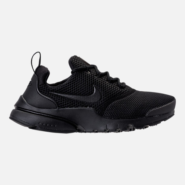 Right view of Boys' Grade School Nike Presto Fly Casual Shoes in Black/White/Black