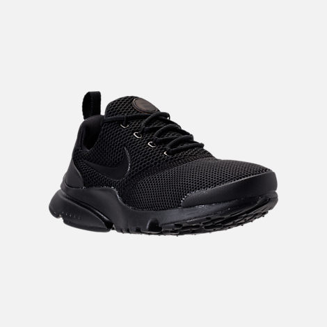 Three Quarter view of Boys' Grade School Nike Presto Fly Casual Shoes in Black/White/Black