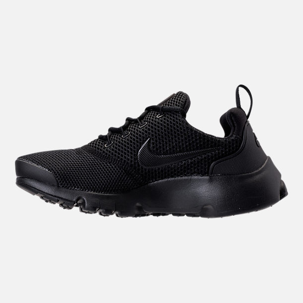 Left view of Boys' Grade School Nike Presto Fly Casual Shoes in Black/White/Black