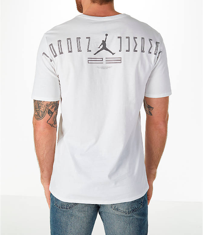 Front view of Men's Jordan Sportswear AJ11 Low Retro T-Shirt in White/Gunsmoke