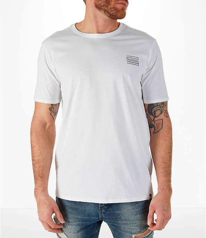 Back Left view of Men's Jordan Sportswear AJ11 Low Retro T-Shirt in White/Gunsmoke