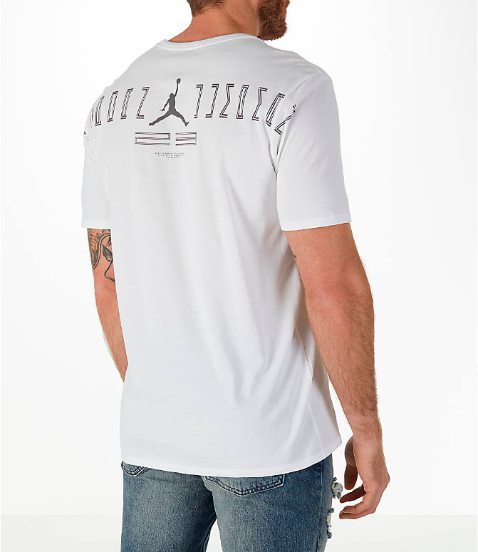 Back Right view of Men's Jordan Sportswear AJ11 Low Retro T-Shirt in White/Gunsmoke