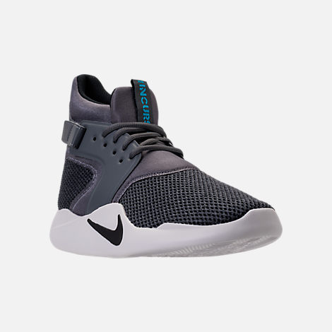 Three Quarter view of Men's Nike Incursion Mid SE Basketball Shoes in Dark Grey/Black/Vast Grey