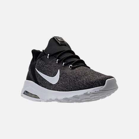 Three Quarter view of Men's Nike Air Max Motion Racer Casual Shoes in Black/Pure Platinum