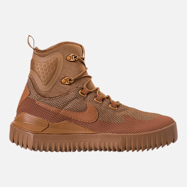 Right view of Men's Nike Air Wild Mid Boots in Golden Beige/Ale Brown