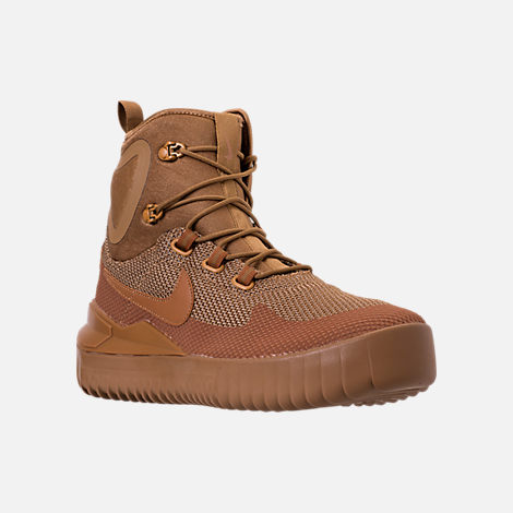 Three Quarter view of Men's Nike Air Wild Mid Boots in Golden Beige/Ale Brown