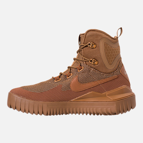 Left view of Men's Nike Air Wild Mid Boots in Golden Beige/Ale Brown