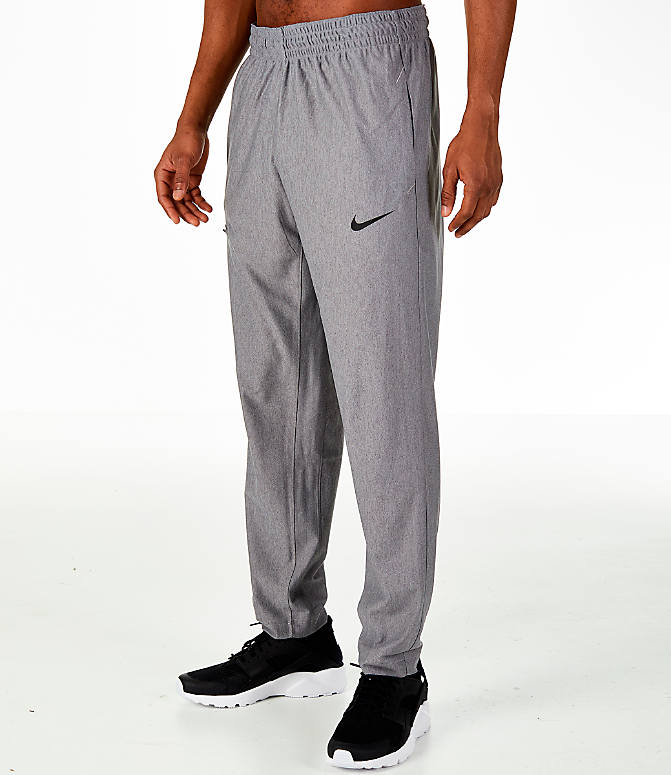 Front Three Quarter view of Men's Nike Transition Basketball Pants in Grey