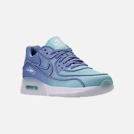Three Quarter view of Women's Nike Air Max 90 Ultra 2.0 Breathe Casual Shoes in Still Blue/Polarized Blue