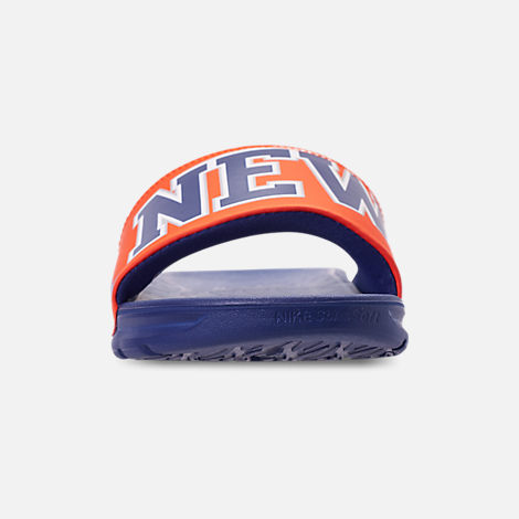 Front view of Men's Nike Benassi Solarsoft New York Knicks NBA Slide Sandals in Brilliant Orange/Rush Blue/Silver