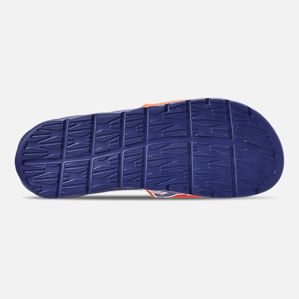 Bottom view of Men's Nike Benassi Solarsoft New York Knicks NBA Slide Sandals in Brilliant Orange/Rush Blue/Silver