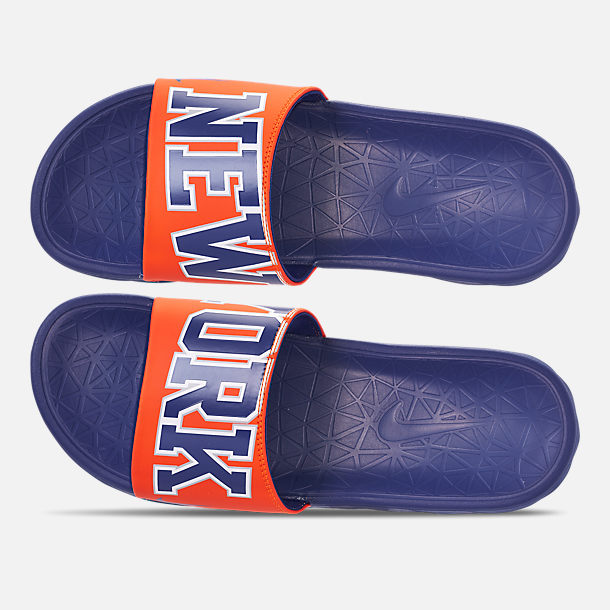 Top view of Men's Nike Benassi Solarsoft New York Knicks NBA Slide Sandals in Brilliant Orange/Rush Blue/Silver
