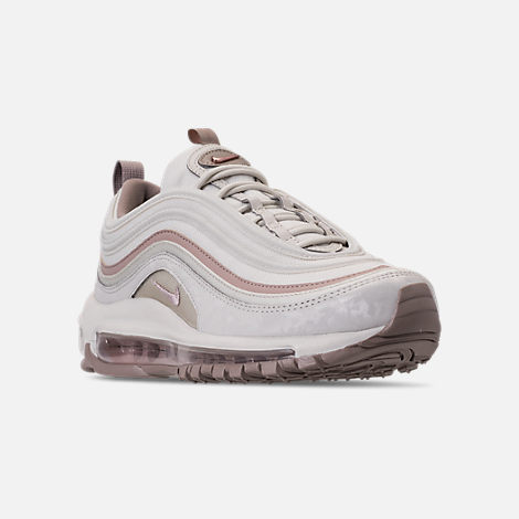 Three Quarter view of Women's Nike Air Max 97 Premium Casual Shoes in Light Bone/Diffused Taupe/Sepia Stone