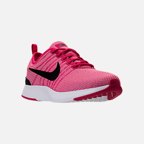 Three Quarter view of Girls' Grade School Nike Dualtone Racer Casual Shoes in Rush Pink/Black/Prism Pink/White