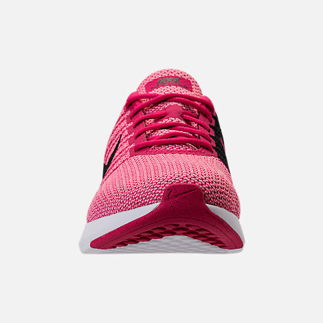Front view of Girls' Grade School Nike Dualtone Racer Casual Shoes in Rush Pink/Black/Prism Pink/White