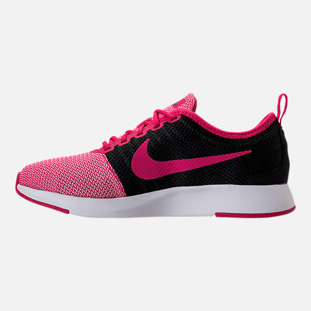 Left view of Girls' Grade School Nike Dualtone Racer Casual Shoes in Rush Pink/Black/Prism Pink/White