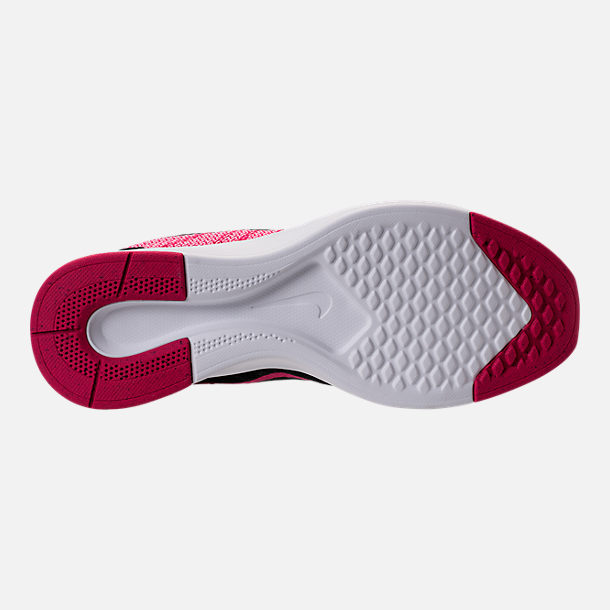 Bottom view of Girls' Grade School Nike Dualtone Racer Casual Shoes in Rush Pink/Black/Prism Pink/White