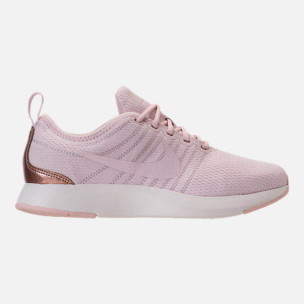 Right view of Girls' Grade School Nike Dualtone Racer Casual Shoes in Barely Rose/Metallic Red Bronze