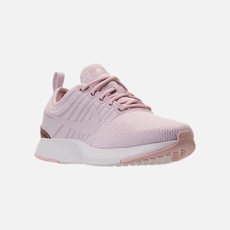 Three Quarter view of Girls' Grade School Nike Dualtone Racer Casual Shoes in Barely Rose/Metallic Red Bronze