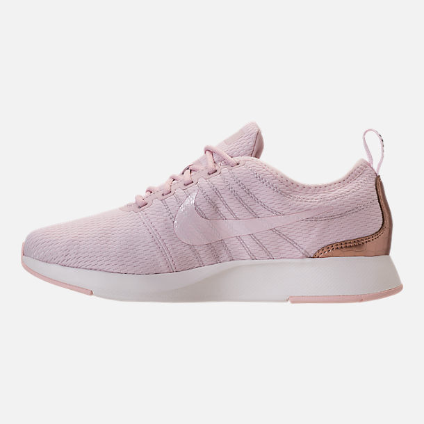 Left view of Girls' Grade School Nike Dualtone Racer Casual Shoes in Barely Rose/Metallic Red Bronze