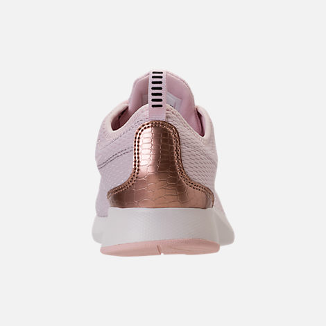Back view of Girls' Grade School Nike Dualtone Racer Casual Shoes in Barely Rose/Metallic Red Bronze