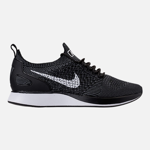 Right view of Women's Nike Air Zoom Mariah Flyknit Racer Casual Shoes in Black/White/Dark Grey