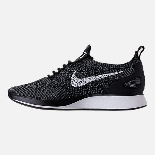 Left view of Women's Nike Air Zoom Mariah Flyknit Racer Casual Shoes in Black/White/Dark Grey