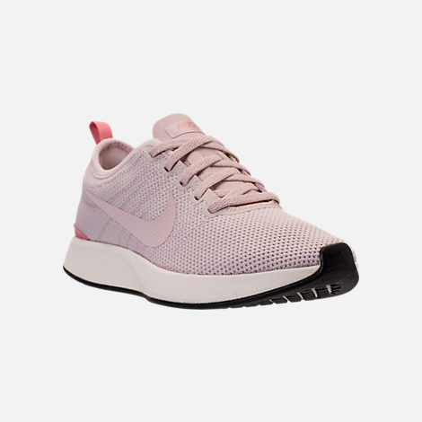 Three Quarter view of Women's Nike Dualtone Racer Casual Shoes in Silt Red/Stardust/Sail