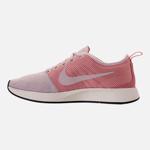Left view of Women's Nike Dualtone Racer Casual Shoes in Silt Red/Stardust/Sail