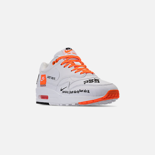Three Quarter view of Women's Nike Air Max 1 Lux Casual Shoes in White/Black/Total Orange