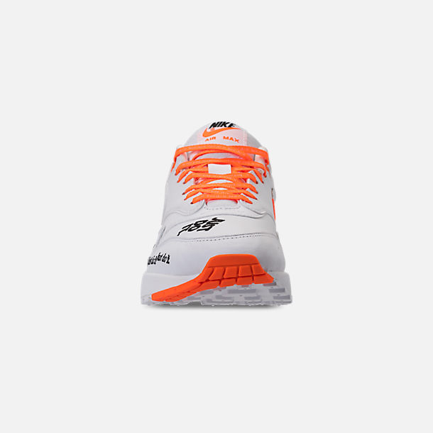 Front view of Women's Nike Air Max 1 Lux Casual Shoes in White/Black/Total Orange
