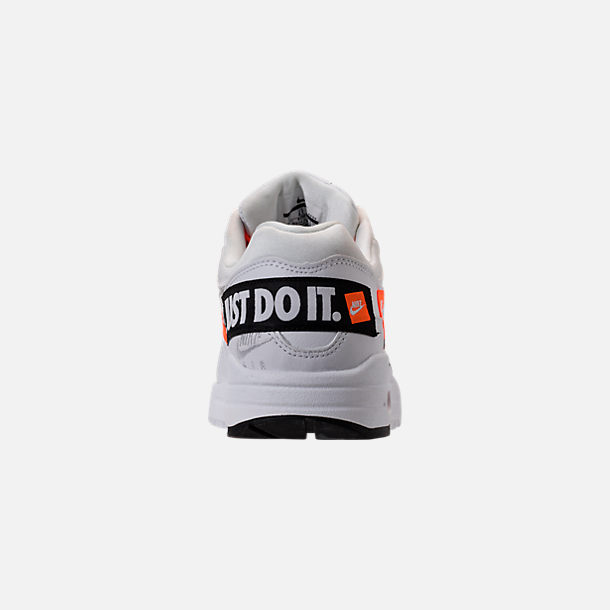 Back view of Women's Nike Air Max 1 Lux Casual Shoes in White/Black/Total Orange